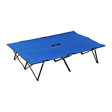 Outsunny 76  Two Person Double Wide Folding Camping Cot - Blue