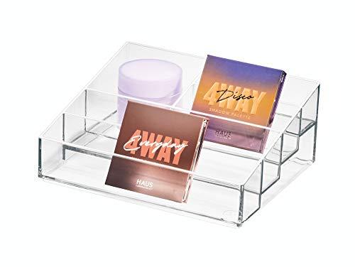 iDesign Rangement Vernis à Ongles, boîte manucure avec 5 Compartiments de la Collection Exclusive Sarah Tanno, présentoir Vernis & Rouges à lèvres en Plastique, Transparent