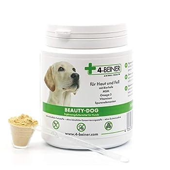 4-BEINER Beauty-Dog: Poil Brillant, vitamines pour Chiens avec oméga 3, MSM, Complexe de vitamines B, Vitamine C, biotine, Chardon-Marie, levure de bière, Zinc, Selenium, 80 g de Poudre pour Le Chien