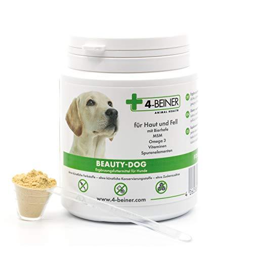 4-BEINER BEAUTY-DOG - glänzendes Fell Hund, Multi-Vitamine für Hunde mit MSM, Omega 3, Vitamin B-Komplex, Vitamin C, Biotin, Bierhefe, Mariendistel, Schwarzkümmelöl, Zink, Jod, Selen, 80 g Pulver