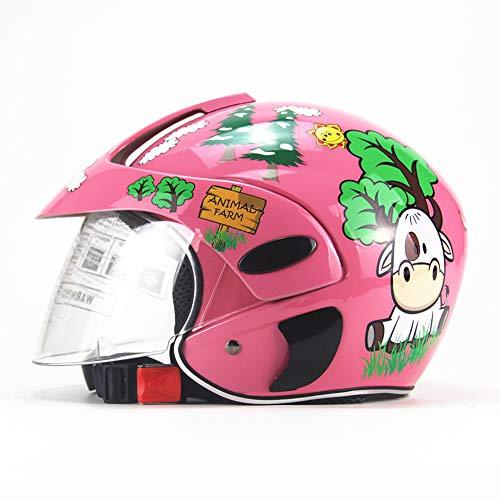 XBDOT Kinder Motorradhelme Leichte Kinderfahrräder Sicherheitshüte Kinderhelm Winter Winddicht Warm Cartoon Junge Mädchen Half Helme Rosa Rinder