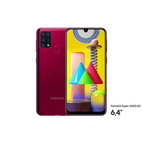 """Samsung Galaxy M31 - Smartphone Dual SIM, Pantalla de 6,4"""" sAMOLED FHD+, Cámara 64 MP, 6 GB RAM, 64 GB ROM Ampliables, Batería 6000 mAh, Android, Versión Española, Color Rojo"""