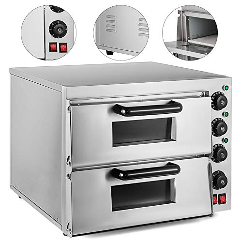 KITGARN 3KW Double Desk Commercial Electric Pizza Oven 16.9 inch Pizza Maker Oven with Dedicated Pizza Drawer Stainless Steel Electric Pizza Cooker (21.7 x 20.5 x 16.9 inch)