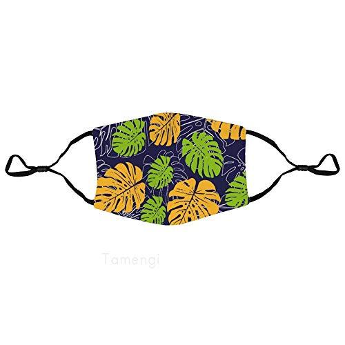 Unisex herbruikbare gezichtsmasker palmbladeren natuurlijke illustratie anti-stofmasker verstelbare oor lus mond masker voor hardlopen, fietsen, outdoor activiteiten