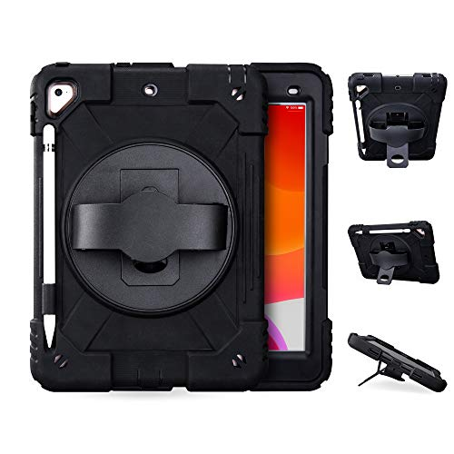 iPad 6th/5th Generation Cases iPad Air 2 Case with 360 Degree Rotary Kickstand&Anti-Skid Hand Strap&Pencil Holder Heavy Duty Shockproof Kids Cover Case for New iPad 9.7 2017/2018/ Pro 9.7(Black)