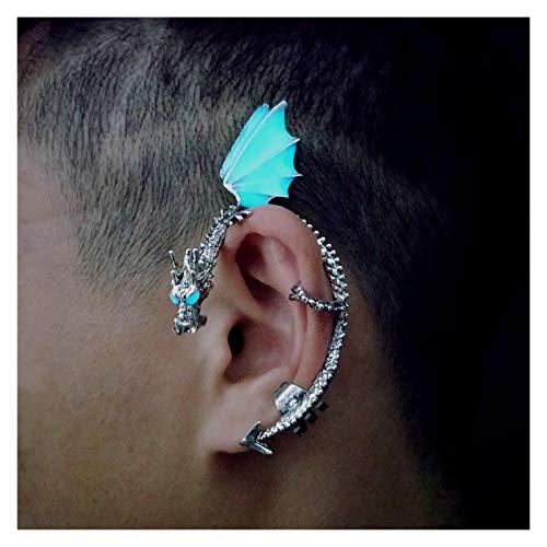xiaofeng214 Vintage Punk Rock dragón puño Pendientes for Mujeres Hombres Hombres gótico Oreja Envoltura Retro Clip Pendientes Piercing joyería de Moda 2pcs (Metal Color : Luminous Silver)