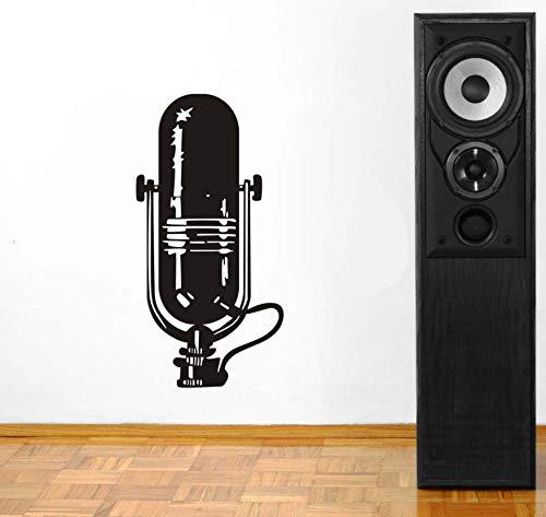 Hlnaughty Wall Art Muziek Muziek Instrument Microfoon Decal Vinyl Sticker Woonkamer Woonkamer Decoratie Zelfklevend Verwijderbaar Behang 30 Cmx59 cm