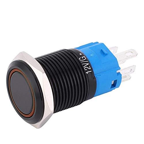 Resistencia, interruptor de botón de bloqueo automático Interruptor de botón de metal de acero inoxidable Interruptor de botón de bloqueo con luz de color para orificio de montaje de 0,6'(yellow)