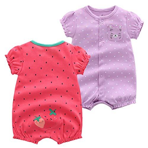 2er Pack Baby Kurzarm Strampler Sommer Mädchen Bodys Overall Jungen Baumwoll Pyjamas Schlafanzug Outfit 6-9 Monate