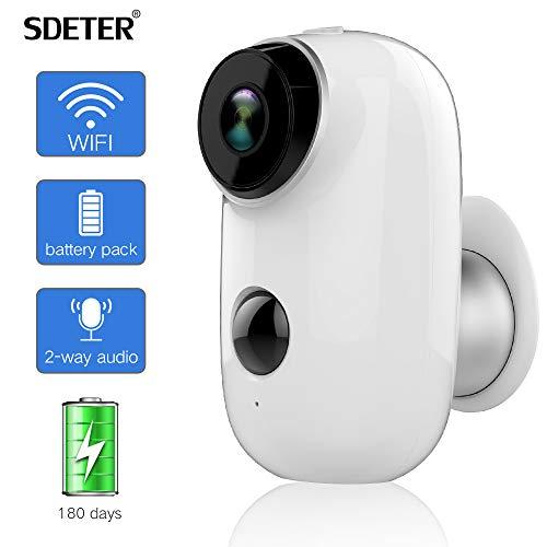 Cámara de Seguridad para Exteriores SDETER, Sistema de vigilancia inalámbrico con batería Recargable 1080P, WiFi IP HD CCTV Video House Monitor
