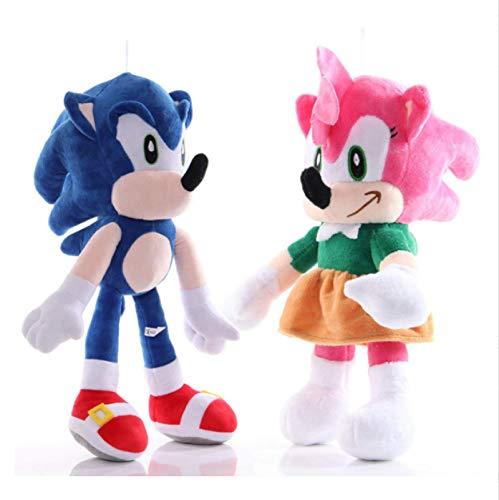 qinhuang 2Pcs Sonic The Hedgehog Giocattoli di Peluche Blu Rosa Sonic Peluche Bambole di Peluche Morbide Baby Boy Girl Regali di Natale per Bambini 28Cm