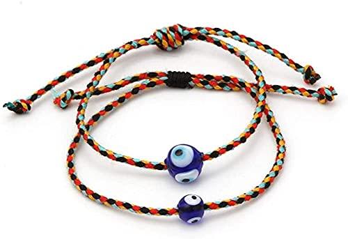 Chyang 2 pulseras de ojo malvado – Cuerda ajustable de Kabbalah trenzado pulsera Lucky Ojo Amuleto Nazar pulsera de mal ojo para pareja familiar Bestfriend mujeres hombres, 2 paquetes