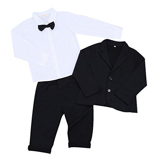 IEFIEL Conjunto de Tres Piezas para Bebé Niño (6 Meses-5 Años) Camisa de Manga Larga + Chaqueta + Pantalones Traje de Bautizo Fiesta Boda Ceremonia Blanco y Negro 12-18 meses