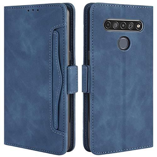 HualuBro Handyhülle für LG K61 Hülle Leder, Flip Hülle Cover Stoßfest Klapphülle Handytasche Schutzhülle für LG K61 Tasche (Blau)