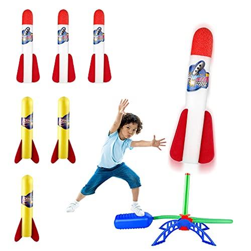 EXTSUD Lanzador de Cohetes - Juguete Cohete de Aire, 6 Cohetes de Espuma, Incluir 3 Cohetes de LED, Kit de Stomp Rocket de Antideslizante, Fácil de Montar para niños y niñas de 3 - 12 años