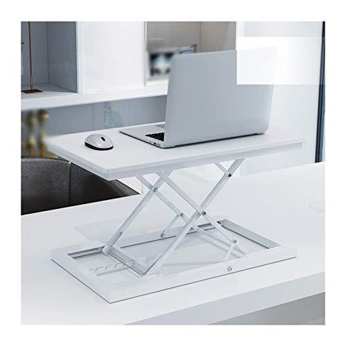 YJFENG Riser Workstation, Sit Stand Tischplatte, 5 Gänge Höhenverstellbar Tragend 20kg, Für Höhe 150-185cm Personal (Color : White, Size : 60x35x6-41cm)
