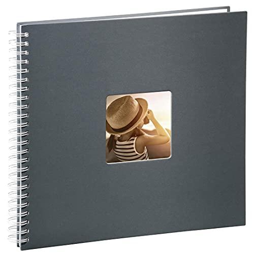 Hama 2113 Fotoalbum Jumbo 36x32 cm (Spiral-Album mit 50 weißen Seiten, Fotobuch mit Pergamin-Trennblättern, Album zum Einkleben und Selbstgestalten) grau