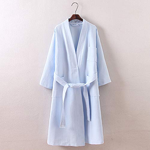 qiangdedianzishang Albornoces Simples de algodón 100% Mujeres Kimono Largo Albornoces Chinos Pareja Batas SPA Batas de Novia Boda Tallas Grandes C XL
