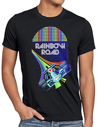 A.N.T. Rainbow Road Camiseta para Hombre T-Shirt Double Dash Kart Tour GP Mario, Talla:3XL, Color:Negro