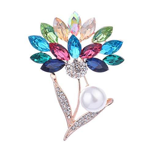 Broche de margarita cristal colorido broche floral para mujer broche de diamantes imitación para novia broches para joyería de boda para novia