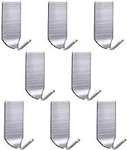 Adhesive Hooks, Strong Hooks Wall Hanger Stainless Steel Waterproof Wall Hooks for Robe Coat Towel Keys Bags Christmas Lights-Home Kitchen Bathroom Office 8-pack