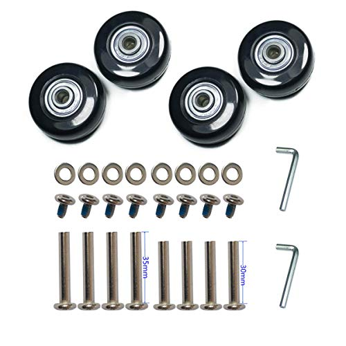 YongXuan 4 Wheels Wear-Resistant Mute Luggage Suitcase Replacement Wheels Rubber Swivel Caster Wheels Repair Kits (50mm × 18mm)