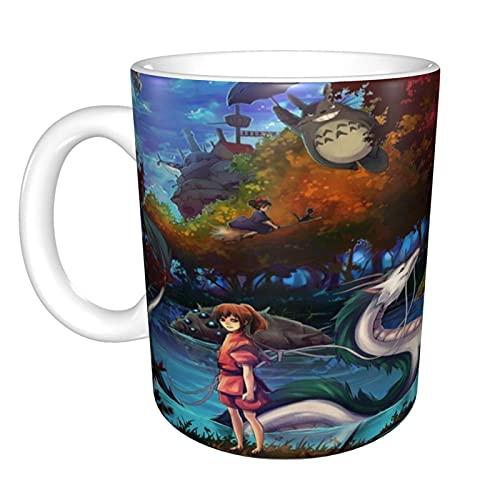 FANGLIAO Spirited Away Princ Mononoke - Taza de café de cerámica brillante, apta para la oficina para café capuchino, té, té y té