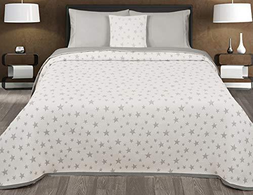 Montse Interiors Couvre-lit en Tissu de Jacquard Motif étoilé Moderne 270x260 (Para cama de 160/180) Gris