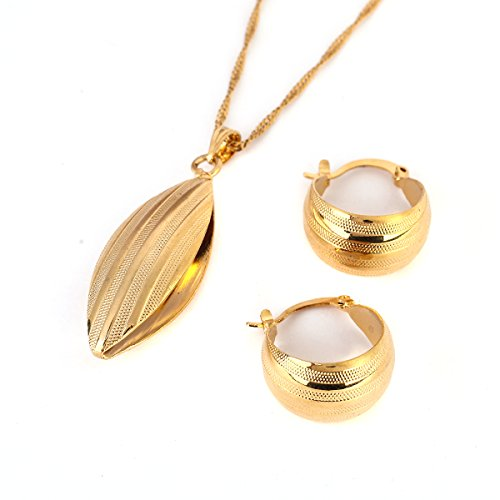Ethiopian Set Necklace Pendant Earring Set Joias Ouro 22k Gold Plated Jewelry African Bridal Wedding