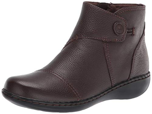 Clarks Women's Ashland Holly Ankle Boot, Dark Brown Leather, 8.5 Wide