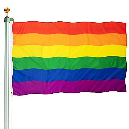 TOPFLAGS Gay Pride Rainbow LGBT Flag - Large 3x5 Ft Lesbian LGBT Flags Banner for Indoor Outdoor Hanging Use