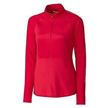 Cutter & Buck Women s Lightweight 50+ UPF Jersey Pennant Sport 3/4 Zip Pullover red X-Large