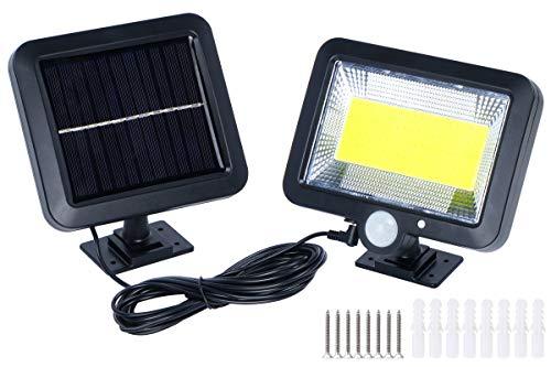 Solar Sensor Lights Outdoor, 100 LED COB Split Motion Sensor Wall Light, IP65 Waterproof Solar Power Lamp with Adjustable Solar Panel for Patio, Porch, Barn, Garage