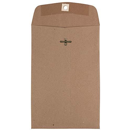 JAM PAPER 6 x 9 Premium Invitation Envelopes with Clasp Closure - Brown Kraft Paper Bag - 10/Pack