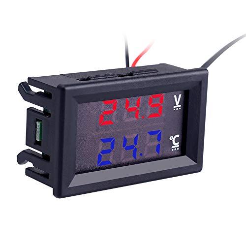 PEMENOL DC 5V 12V 24V Vehikel Digital Thermometer und Voltmeter Tester 2-IN-1 Rot + Blau Dual Display-Digital-Thermometer Voltmeter mit LED-Anzeige und NTC Wasserdichtem Metallfühler-Temperatursensor