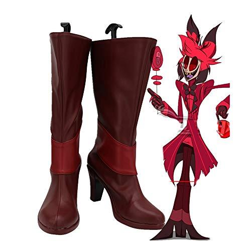 Hazbin Cosplay Hotel Alastor Cosplay botas zapatos de cuero de tacón alto Alastor botas rojas por encargo 38 tamaño masculino