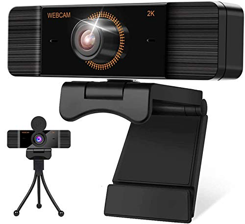 Full HD 1440P 2K Webcam with Cover and Tripod for PC/Mac/Laptop/Macbook/Tablet 30FPS Webcam with Microphone Wide Angle Streaming Video Webcams USB Clip On Webcam Compatible with Windows 7/8/10/XP