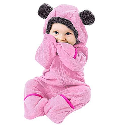 BUKINIE Nouveau-né bébé Chaud Habineige Toison Bunting Pram Automne Hiver Flanelle Capuche Romper Jumpsuit Mitten & Bootie Manchettes(Rose,6-12 Mois)