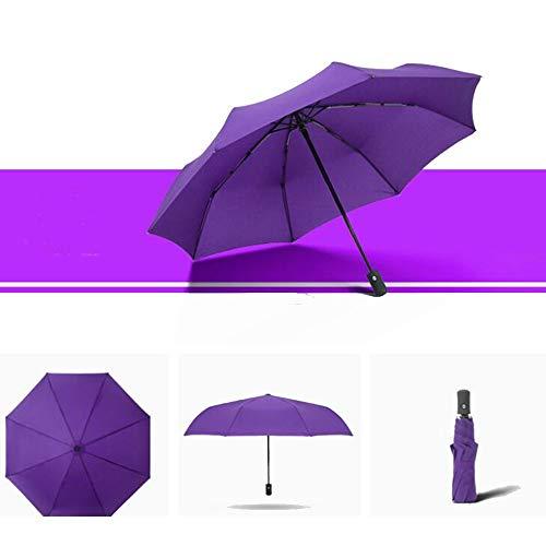 Yi-xir Experiencia Confortable Menores y Mujeres plenamente reflexivo de Paraguas de Negocios Paraguas de Viaje Compacto (Color : Purple)