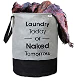 Heart Home Round Non Woven Fabric Foldable Laundry Basket , Toy Storage Basket, Cloth Storage Basket With Handles,45 Ltr (Grey & Black)-HEARTXY11446
