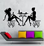 Wall Stickers Cafe Restaurant Women Silhouette Lunch Table Vinyl Decal (vs2421)