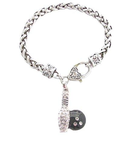 Bowling Pin Ball schwarz Kristall klar silber Kette Armband Fashion Jewellery