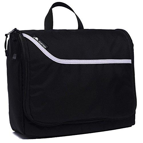 Alpamayo® Kulturbeutel, Kulturtasche zum Aufhängen, Kosmetiktasche für die Reise, Toilettentasche mit Haken, Zahnbürstenfach und Spiegel, schwarz