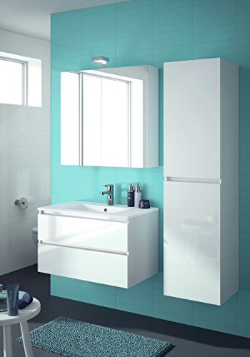 ALLIBERT Badmöbel-Set Badmöbel vormontiert Softclose-Funktion weiß Spiegelschrank Waschtisch 80 cm