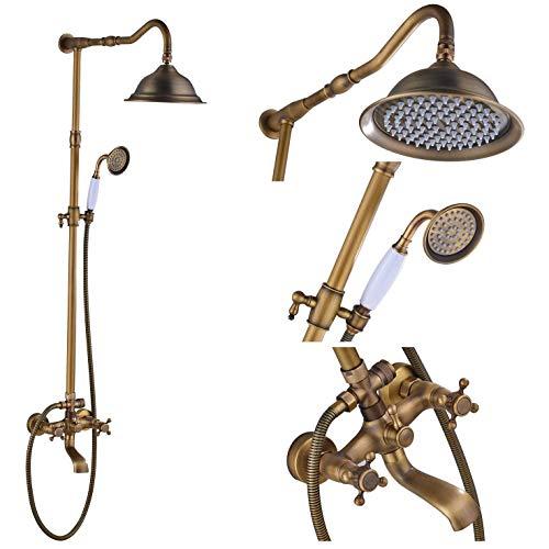 Rozin Antique Brass Bathroom Shower Faucet Set 8 Inch Shower Head + Hand Spray