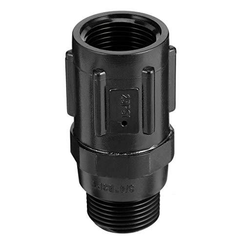 Baluue - Regulador de presión de jardín, 25 Psi 3/4 manguera roscada gota de goteo, reductor de presión, válvula para refrigeración, parque de jardín (negro)
