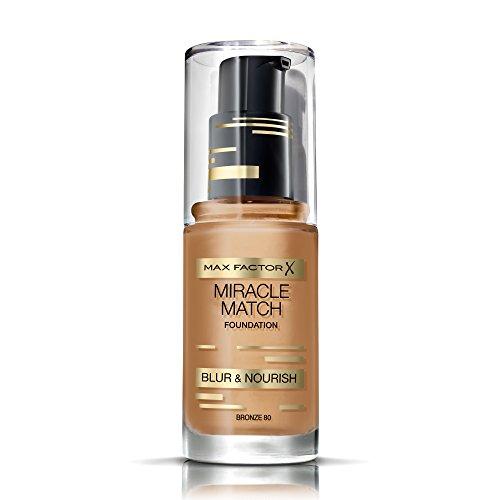 Max Factor Miracle Match Foundation Bronze 80 – Flüssig Foundation mit Weichzeichner-Effekt – Passt sich jedem Hautton an – 1 x 30 ml