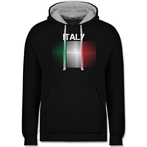 Shirtracer Länder - Italy Flagge - M - Schwarz/Grau meliert - Italia Pullover - JH003 - Hoodie zweifarbig und Kapuzenpullover für Herren und Damen