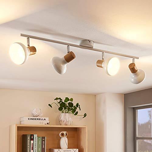 Lindby Strahler 'Fridolin' dimmbar (Modern) in Weiß aus Metall u.a. für Küche (4 flammig, E14, A++) - Deckenlampe, Deckenleuchte, Lampe, Spot, Küchenleuchte