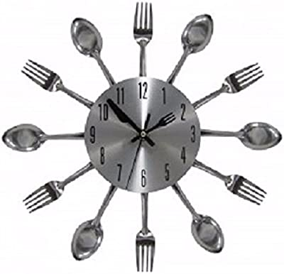 Kitchen Dining Wall Art Clock Fork Spoon Silverware Home Decor 12